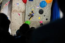 Romain Desgranges (FRA) during men final competition of IFSC Climbing World Cup Kranj 2014, on November 16, 2014 in Arena Zlato Polje, Kranj, Slovenia. (Photo By Grega Valancicr / Sportida.com)