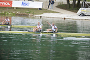 Bled, SLOVENIA,  Men's double Sculls Final.  left to right right and winning GBR1 M2X  Matt WELLS Marcus BATEMAN and Bill LUCAS and Sam TOWNSEND . GBR2  M2X.1st FISA World Cup. Third day. Rowing Course. Lake Bled.  Sunday  30/05/2010  [Mandatory Credit Peter Spurrier/ Intersport Images]