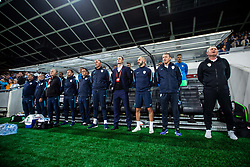 Matjaž Kek, head coach of Slovenia + staff during national anthem during the 2020 UEFA European Championships group G qualifying match between Slovenia and Israel at SRC Stozice on September 9, 2019 in Ljubljana, Slovenia. Photo by Grega Valancic / Sportida