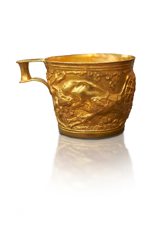 Vapheio type Mycenaean gold cup depicting a wild bull hunt side C , Vapheio Tholos Tomb, Lakonia, Greece. National Archaeological Museum of Athens.  White background.<br /> <br />  Two masterpieces of Creto - Mycenaean gold metalwork were excavated from a tholos tomb near Lakonia in Sparta in 1988. Made in the 15th century BC, the gold cups are heavily influenced by the Minoan style that was predominant in the Agean at the time. The bull hunt was popular with  Mycenaean  and Minoan artists and symolised power and fertility. The distinctive shape of the cup is kown as 'Vapheio type'. .<br /> <br /> If you prefer to buy from our ALAMY PHOTO LIBRARY  Collection visit : https://www.alamy.com/portfolio/paul-williams-funkystock/mycenaean-art-artefacts.html . Type -   Athens    - into the LOWER SEARCH WITHIN GALLERY box. Refine search by adding background colour, place, museum etc<br /> <br /> Visit our MYCENAEN ART PHOTO COLLECTIONS for more photos to download  as wall art prints https://funkystock.photoshelter.com/gallery-collection/Pictures-Images-of-Ancient-Mycenaean-Art-Artefacts-Archaeology-Sites/C0000xRC5WLQcbhQ