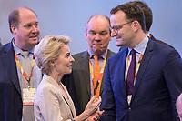 22 NOV 2019, LEIPZIG/GERMANY:<br /> Ursula von der Leyen (L), CDU, gewaehlte Praesidentin der Europaeischen Kommission, und Jens Spahn (R), CDU, Bundesgesundheitsminister, im Gespraech, CDU Bundesparteitag, CCL Leipzig<br /> IMAGE: 20191122-01-010<br /> KEYWORDS: Parteitag, party congress, Gespräch