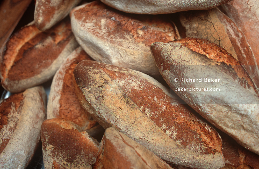 A detail of sourdough bread loaves at an artisanal bakery, on 20th April 2000, in London, England. (Photo by Richard Baker / In Pictures via Getty Images)