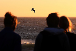 Lewis Crathern of Britain during the Red Bull King of the Air kiteboarding competition held at Big Bay in Cape Town, South Africa on the 2nd February 2017.<br /> <br /> Photo by Shaun Roy