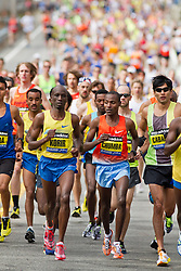 2013 Boston Marathon: elite men lead out 23,000 runners at start of race led by Korir and Chumba