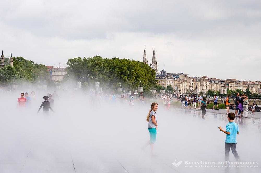 France, Bordeaux. Water mirror in front of Place de la Bourse.