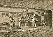 'Germain Someiller's compressed air rock boring machine being used in the Frejus Rail Tunnel (Mont Cenis Tunnel) in the Alps, linking France and Italy. Engraving 1876.'