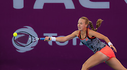 February 13, 2019 - Doha, QATAR - Anna Blinkova of Russia in action during her second-round match at the 2019 Qatar Total Open WTA Premier tennis tournament (Credit Image: © AFP7 via ZUMA Wire)