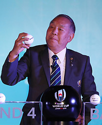 KYOTO, JAPAN - MAY 10: Yoshihiro Sakata, former Japan wing draws Americas 1 during the Rugby World Cup 2019 Pool Draw at the Kyoto State Guest House on May 10, in Kyoto, Japan. Photo by Dave Rogers - World Rugby/PARSPIX/ABACAPRESS.COM