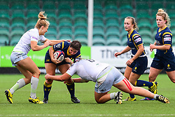Charlie Wilcock of Worcester Valkyries is tackled by Bryony Cleall of Saracens Ladies  - Mandatory by-line: Craig Thomas/JMP - 30/09/2017 - RUGBY - Sixways Stadium - Worcester, England - Worcester Valkyries v Saracens Women - Tyrrells Premier 15s