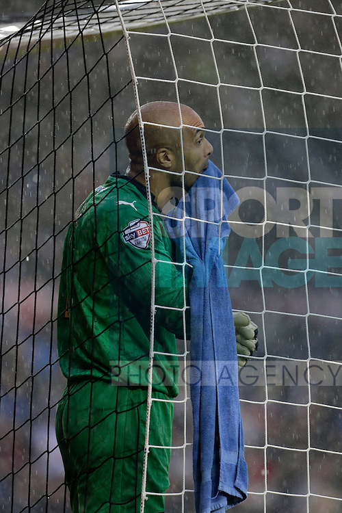 Dejection in the rain for Wolves goalkeeper Carl Ikeme Football - Sky Bet Championship - Derby County vs Wolverhampton Wanderers - iPro Stadium Derby - Season 2014/15 - 8th November 2014 - Photo Malcolm Couzens/Sportimage