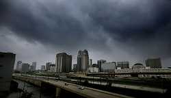 Storms clouds move in over the skyline of downtown Orlando as Hurricane Irma makes its way up the Florida peninsula on Sunday, September 10, 2017. Photo by Joe Burbank/Orlando Sentinel/TNS/ABACAPRESS.COM