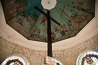 Magellan's Cross was installed by  the Spanish explorer upon arriving in Cebu in the Philippines in 1521.  This cross is housed in a chapel next to the Basilica Minore del Santo Niño just in front of the city hall of Cebu City.  Some people believe that the original cross was destroyed or had disappeared after Magellan's death, and the cross is a replica that was planted there by the Spaniards after they successfully colonized the Philippines. Magellan's Cross is a symbol of Cebu.