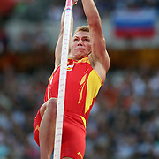 Igor Bychkov, Spain, in action during the Men's Pole Vault Final at the Olympic Stadium, Olympic Park, Stratford during the London 2012 Olympic games. London, UK. 10th August 2012. Photo Tim Clayton