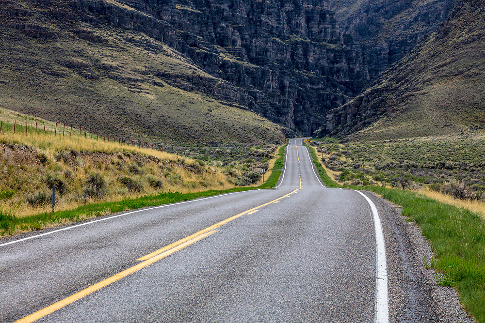 Highway enters Ambush Canyon in Central Idaho near the Lost River Range.  Licensing and Open Edition Prints.