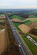 Nederland, Limburg, Gemeente Born, 15-11-2010; Rijksweg A2 ten noorden van Geleen.Motorway A2, north of the city of Geleen, Limburg..luchtfoto (toeslag), aerial photo (additional fee required).foto/photo Siebe Swart