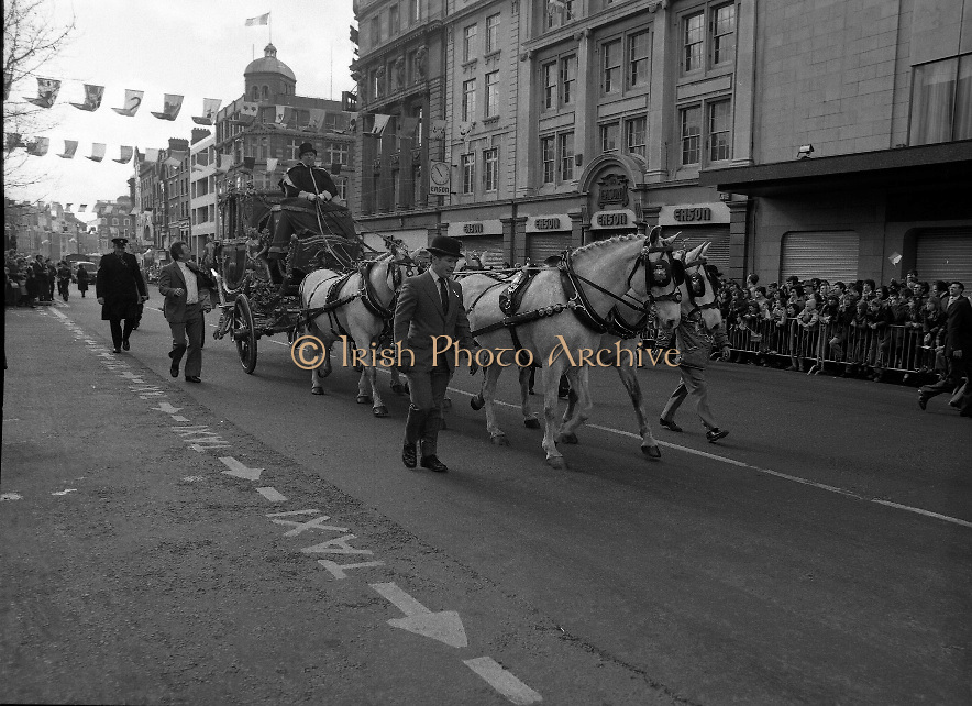 St Patrick's Day Parade.1982.17/03/1982.03.17.1982.17th March 1982..An image of O'Connell St..With Easons in the background the coach approaches the viewing stand.