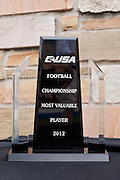 Dec 1, 2012; Tulsa, Ok, USA; The CUSA MVP trophy sits on a table during a game between the Tulsa Hurricanes and the University of Central Florida Knights at Skelly Field at H.A. Chapman Stadium. Tulsa defeated UCF 33-27 in overtime to win the CUSA Championship. Mandatory Credit: Beth Hall-USA TODAY Sports