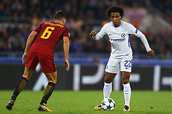October 31, 2017 - Rome, Italy - Chelsea's Brazilian midfielder Willian of Chelsea  during the UEFA Champions League football match AS Roma vs Chelsea on October 31, 2017 at the Olympic Stadium in Rome. (Credit Image: © Matteo Ciambelli/NurPhoto via ZUMA Press)