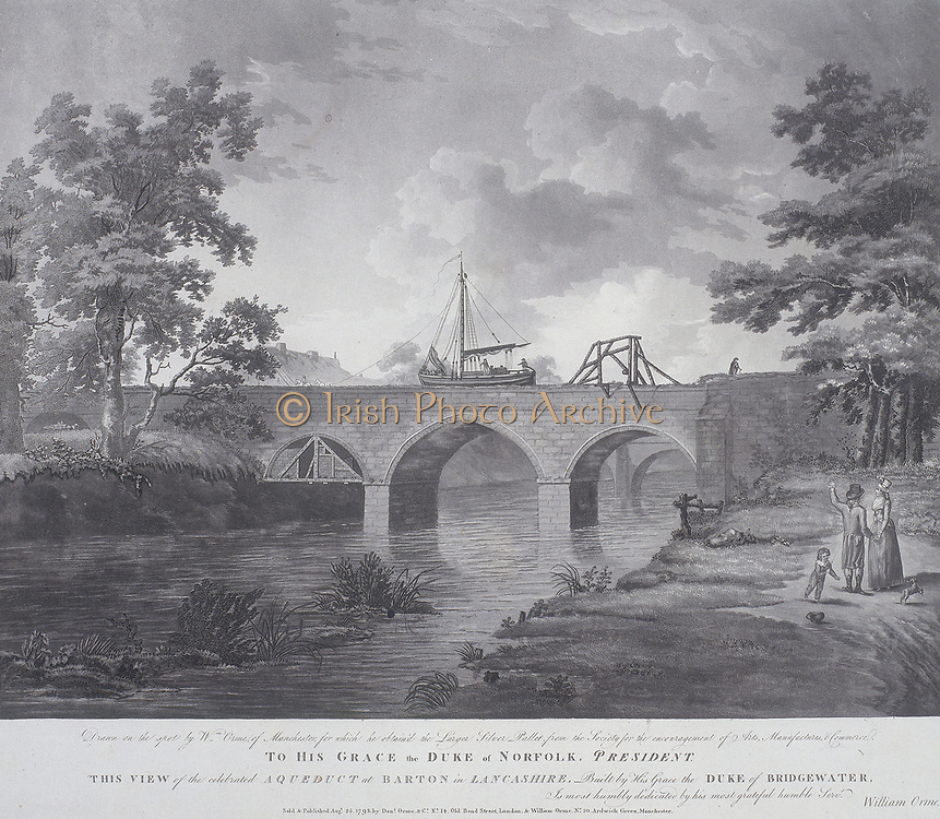 Viaduct on the Bridgewater Canal carrying it across the River Irwell.  Built by the English civil engineer James Brindley (1716-1772) it was commissioned by the Duke of Bridgewater to carry coal from his mines at Worsley, Lancashire to the industrial city of Manchester.