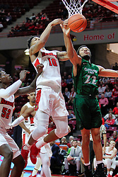 NORMAL, IL - December 16: Malik Yarbrough, Phil Fayne and Jaalam Hill during a college basketball game between the ISU Redbirds and the Cleveland State Vikings on December 16 2018 at Redbird Arena in Normal, IL. (Photo by Alan Look)