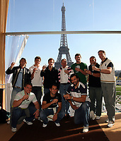 Photo: Paul Thomas/Sportsbeat Images.<br />South Africa Reception at Rugby Town. 21/10/2007.<br /><br />South African World Cup cup winning players pose in front of the Effiel Tower. (L-R) Percy Montgomery, John Smit, Juan Smith, Butch James, Fourie Du Preez, Jake Smith (Coach), Victor Matfield, Danie Rossouw, CJ van der Linde and Bakkies Botha.