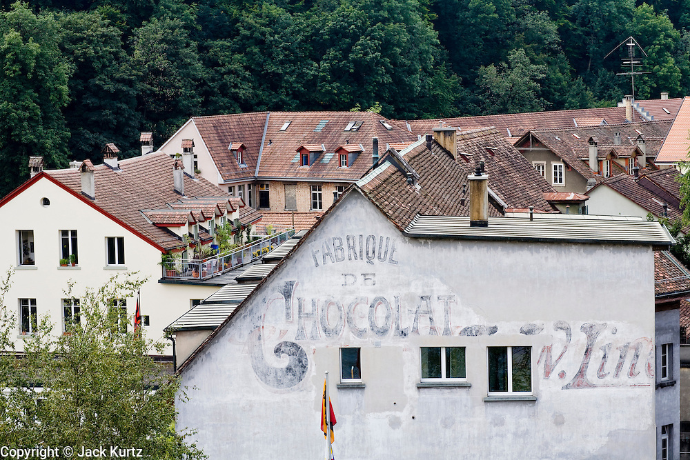 03 AUGUST 2007 -- BERN, SWITZERLAND: A chocolate factory and historic roofline in Bern, the national capital of Switzerland. Bern in a UNESCO World Heritage Site. PHOTO BY JACK KURTZ