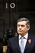 Prime Minister Gordon Brown stands outside Number 10 Downing Street, London, United Kingdom