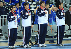 Head coach of Korea Taesup Choi and officials of Korea at 21st Men's World Handball Championship 2009 Main round Group I match between National teams of Slovakia and Korea, on January 24, 2009, in Arena Zagreb, Zagreb, Croatia.  (Photo by Vid Ponikvar / Sportida)