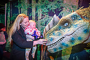 NO FEE PICTURES<br /> 17/12/17 Emily Hughes 8 months swords and Grainne McNeill pictured at the prehistoric preview and official opening of Dinosaurs Around The World now open at the the Ambassador Theatre  for a limited time only. Embark on a globetrotting expedition around the world to discover the Age of Reptiles! With advanced animatronics, a multi-layered narrative, fossils, authentic casts, cutting-edge research and immersive design elements you'll experience the Age of Reptiles as it comes to life!  Dinosaurs Around the World is open daily to the public from 10 a.m. with last entry at 6pm for a limited time only. Tickets available from Ticketmaster.ie and from the Ambassador Theatre Box Office now. Visit www.mcd.ie for more. Pictures: Arthur Carron