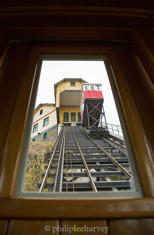 Low angle view from window of cable car, Valparasio, Chile