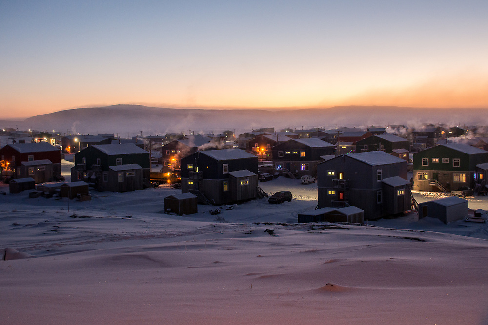 A very cold morning in december. The village is very quiet at that moment. The Inuits are not early bird.