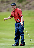 Photograph: Scott Heavey, Digitalsport<br />Volvo PGA Championship At Wentworth Club. 24/05/2003.<br />Henrik Bjørnstad celebrates a birdie on the 13th.