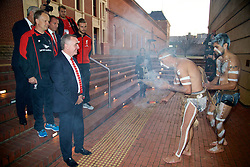 ADELAIDE, AUSTRALIA - Sunday, July 19, 2015: Liverpool's Managing Director Ian Ayre, assistant manager Sean O'Driscoll, manager Brendan Rodgers and captain Jordan Henderson receive an Aboriginal 'Welcome to Country' during a visit to the Art Gallery of South Australia ahead of a preseason friendly match against Adelaide United on day seven of the club's preseason tour. (Pic by David Rawcliffe/Propaganda)