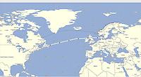 GPS Track: Newark to Copenhagen (3890 miles)