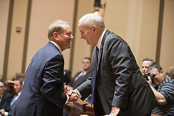 August 28, 2017 - St. Paul, MN, U.S.A - Gov. Mark Dayton, right, greets Doug Kelley, the lawyer representing the Minnesota State Legislature, before the oral arguments begin. ] LEILA NAVIDI • leila.navidi@startribune.com ....BACKGROUND INFORMATION: The Minnesota Supreme Court hears oral arguments at the Capitol in St. Paul on Monday, August 28, 2017 in the appeals case after Gov. Mark Dayton's attempt to eliminate funding for the Minnesota Legislature resulting in the Legislature suing the Governor. (Credit Image: © Leila Navidi/Minneapolis Star Tribune via ZUMA Wire)