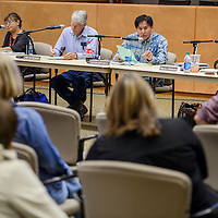 The Gallup McKinley County Schools board conducts a special meeting at the GMCS Student Support Center in Gallup Friday.