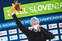 Loginov Dmitry (RUS) during medal ceremony after parallel giant slalom FIS Snowboard Alpine world championships 2021 on 1st of March 2021 on Rogla, Slovenia, Slovenia. Photo by Grega Valancic / Sportida