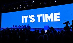 Edinburgh, Scotland, UK. 27 April, 2019. SNP ( Scottish National Party) Spring Conference takes place at the EICC ( Edinburgh International Conference Centre) in Edinburgh. Pictured video introduction at start of Day 1 proceedings.