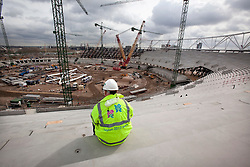 Olympic Stadium. View of a worker in the interior of the Olympic Stadium. Picture taken on 07 April 09 by David Poultney.