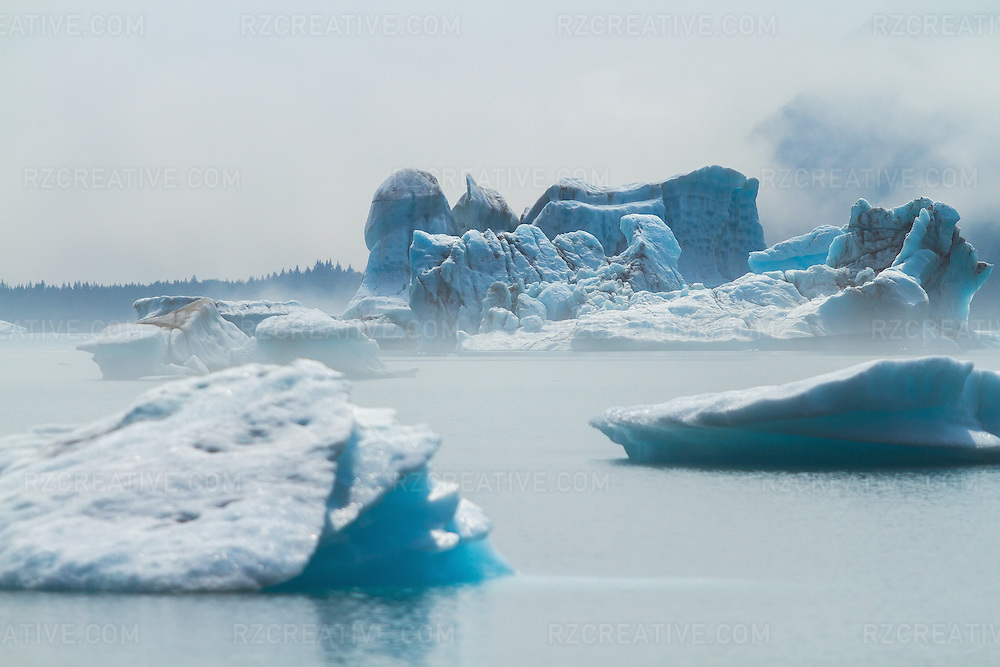Icebergs float in a lagoon in a remote part of Alaska.