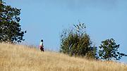 Hiker at Baskett Slough National Wildlife Refuge, Dallas, Oregon