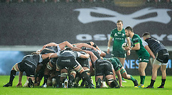 Caolin Blade of Connacht puts in at the scrum<br /> <br /> Photographer Simon King/Replay Images<br /> <br /> Guinness PRO14 Round 6 - Ospreys v Connacht - Saturday 2nd November 2019 - Liberty Stadium - Swansea<br /> <br /> World Copyright © Replay Images . All rights reserved. info@replayimages.co.uk - http://replayimages.co.uk