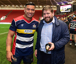 Siale Piutau of Bristol Rugby poses for the man of the match - Mandatory by-line: Alex Davidson/JMP - 08/12/2017 - RUGBY - Ashton Gate Stadium - Bristol, England - Bristol Rugby v Leinster 'A' - B&I Cup