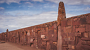 Tiwanaku ruins outside of La Paz, Bolivia sits on the Altiplano, at an altitude of 3,850 m / 12,631 ft. One of the oldest and highest cities ever built. Active between 400 A.D. and 900 A.D this was largely an agrarian society with great skills for stone carving and irrigation technology. The Kalasasaya, open aired temple, was thought to have been an observatory.