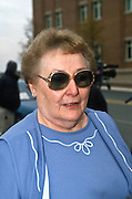 Betty Nicholson, mother of accused double agent Harold James Nicholson a CIA employee arrested for spying for Russia outside the federal court November 26, 1996 where her son is being arraigned on espionage charges . Nicholson was said to be the highest ranking CIA official ever convicted of spying for a foreign power.