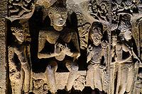Inde, état de Maharashtra, Ajanta, grottes d'Ajanta classées au Patrimoine mondial de l'UNESCO, grotte N°26 // India, Maharashtra, Ajanta cave temple, Unesco World Heritage, cave N°26