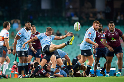 March 9, 2019 - Sydney, NSW, U.S. - SYDNEY, NSW - MARCH 09: Waratahs player Jake Gordon (9) kicks the ball at round 4 of Super Rugby between NSW Waratahs and Queensland Reds on March 09, 2019 at The Sydney Cricket Ground, NSW. (Photo by Speed Media/Icon Sportswire) (Credit Image: © Speed Media/Icon SMI via ZUMA Press)