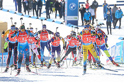 Start during the IBU World Championships Biathlon 4x6km Relay Women competition on February 20, 2021 in Pokljuka, Slovenia. Photo by Vid Ponikvar / Sportida