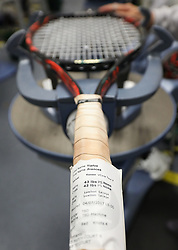 A racket is strung in the Stringing Room on day two of the Wimbledon Championships at the All England Lawn Tennis and Croquet Club, Wimbledon. PRESS ASSOCIATION Photo. Picture date: Tuesday July 4, 2017. See PA story TENNIS Wimbledon. Photo credit should read: Philip Toscano/PA Wire. RESTRICTIONS: Editorial use only. No commercial use without prior written consent of the AELTC. Still image use only - no moving images to emulate broadcast. No superimposing or removal of sponsor/ad logos.