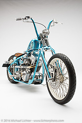 """""""Ramble On"""", a blue custom evo built by George Stinsman of Chaos Cycles in Mastic, NY. Photographed by Michael Lichter in Sturgis, SD on August 3, 2016. ©2016 Michael Lichter."""